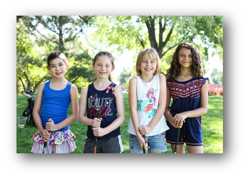 Four Girls Playing Golf at Dream Big Summer Day Camp | Hilltop Denver and Greenwood Village